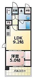 ラルシェパルク新大阪[9階]の間取り