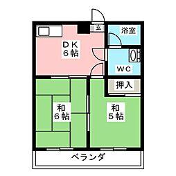 奥田ハイツ[3階]の間取り