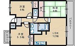 グレイスコート善3階Fの間取り画像