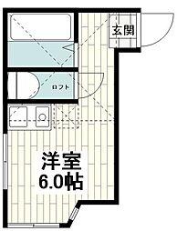 ユナイト和田町カロリング 1階ワンルームの間取り