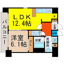 プレサンス名古屋STATIONザ・シティ[1502号室]の間取り