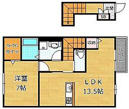 大阪府枚方市招提元町2丁目の賃貸アパートの間取り