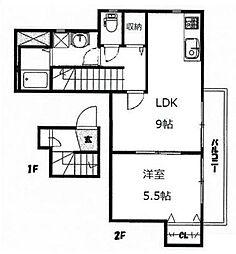 相鉄いずみ野線 いずみ野駅 徒歩9分の賃貸アパート 2階1LDKの間取り