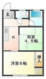 阪神マンション[2階]の間取り