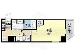 京阪本線 天満橋駅 徒歩7分の賃貸マンション 8階1Kの間取り