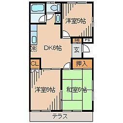 神奈川県横浜市神奈川区松見町3丁目の賃貸アパートの間取り