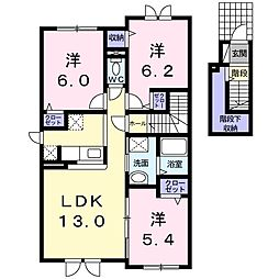 北海道札幌市清田区北野二条2丁目の賃貸アパートの間取り