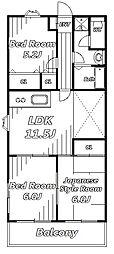 コーポヤマオカ[2階]の間取り