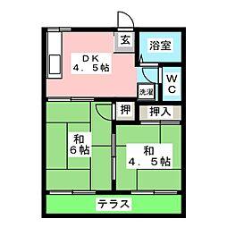 フォーブル日清B[1階]の間取り