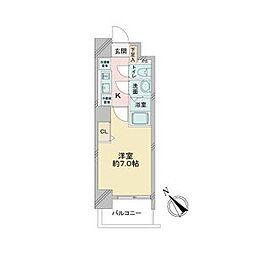 JR中央本線 鶴舞駅 徒歩2分の賃貸マンション 2階1Kの間取り