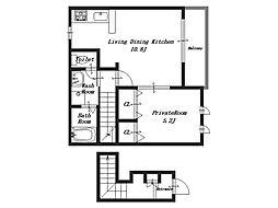 アパートメント・ラ・ティンカー[2階]の間取り