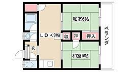 長栄ビル[4C号室]の間取り