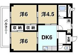 奈良県桜井市安倍木材団地1の賃貸アパートの間取り