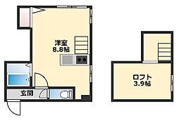 アイビーパレス321 3階ワンルームの間取り