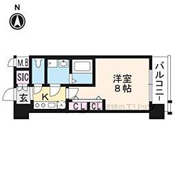 エステムコート京都西大路607 6階1Kの間取り