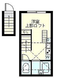 プラチナシティ蒲田 2階ワンルームの間取り