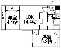 北海道札幌市豊平区平岸三条5丁目の賃貸マンションの間取り