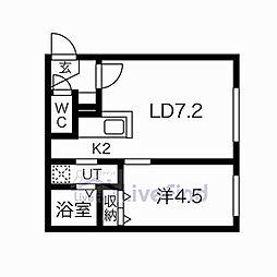 札幌市営東西線 菊水駅 徒歩6分の賃貸マンション 2階1LDKの間取り