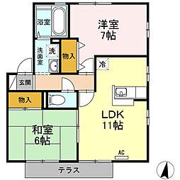 エスポワールu A棟[A101号室]の間取り