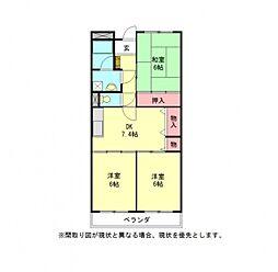 愛知県岩倉市大市場町順喜の賃貸マンションの間取り