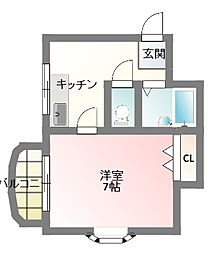 大阪府寝屋川市平池町の賃貸マンションの間取り