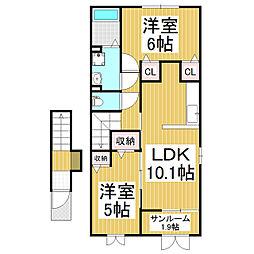 長野県松本市神田1丁目の賃貸アパートの間取り