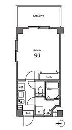 都営浅草線 大門駅 徒歩14分の賃貸マンション 8階1Kの間取り