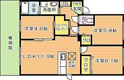福岡県北九州市八幡西区泉ケ浦1丁目の賃貸アパートの間取り