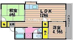 岡山県倉敷市福島の賃貸アパートの間取り