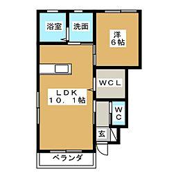 仮称)松戸市千駄堀新築賃貸住宅 1階1LDKの間取り