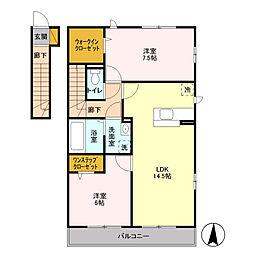 神奈川県川崎市麻生区東百合丘2丁目の賃貸アパートの間取り