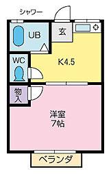 三神アパート[205号室]の間取り