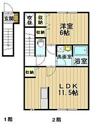パークサイド早稲田B[2階]の間取り