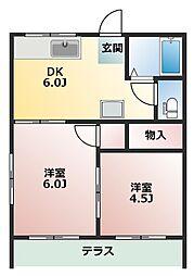 タウンハイツ天川大島[1階]の間取り