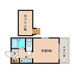 近鉄奈良線 学園前駅 徒歩4分の賃貸アパート 2階ワンルームの間取り