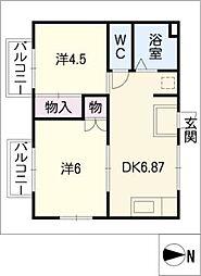 愛知県名古屋市緑区東神の倉2丁目の賃貸アパートの間取り