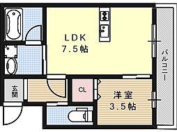 インペリアル京口[3階]の間取り