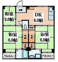 ビレッジハウス伏屋8号棟[5階]の間取り