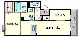 プロスぺリタ 3階2LDKの間取り