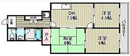 大阪府堺市北区百舌鳥赤畑町2丁の賃貸マンションの間取り