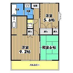 東京都昭島市緑町4丁目の賃貸マンションの間取り