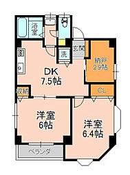 アプライズ北松戸[2階号室]の間取り