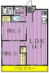 エスポアール富里A[203号室]の間取り