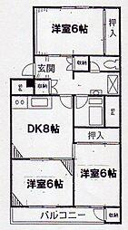 富岡シーサイドコーポ[3階]の間取り