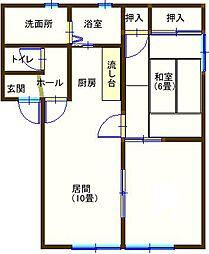 ラフォーレ福居10  103号室[1階]の間取り