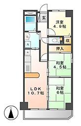 愛知県名古屋市熱田区二番2丁目の賃貸マンションの間取り
