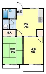 愛知県豊田市小川町2丁目の賃貸アパートの間取り