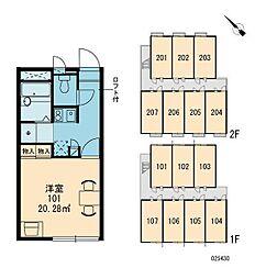 レオパレス新家[205号室]の間取り