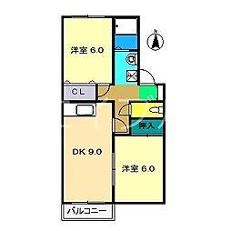 セジュール妙見 B棟[1階]の間取り