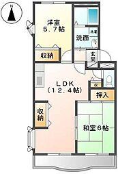 岡山県岡山市北区青江3丁目の賃貸マンションの間取り
